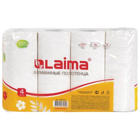 Полотенца бумажные бытовые, спайка 4 шт., 2-х слойные, (4х18 м), LAIMA/ЛАЙМА, 22х23 см, белые, 128725