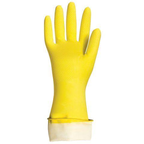 """Перчатки хозяйственные латексные LAIMA """"Премиум"""", МНОГОРАЗОВЫЕ, хлопчатобумажное напыление, суперплотные, M (средний), 600571"""