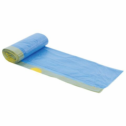 Мешки для мусора с завязками 60 л, синие, в рулоне 20 шт., прочные, ПНД 12 мкм, 55х62 см, LAIMA, 601397